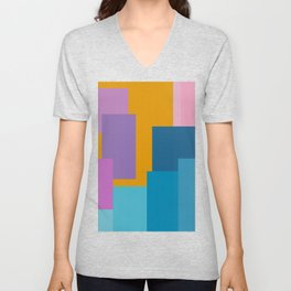 Happy Color Block Geometrics in Yellow, Blue, Purple, and Pink Unisex V-Neck