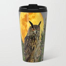 WILDERNESS OWL WITH FULL MOON PINE TREES Travel Mug