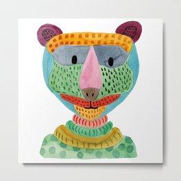 Cute Bear Watecolor Metal Print