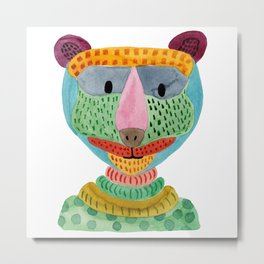 Cute Bear Watecolor Metal Print