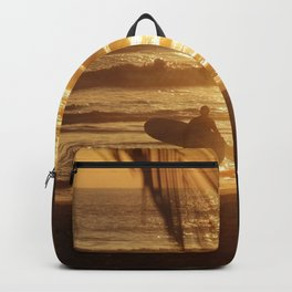Golden Beach with Surfer (Color) Backpack