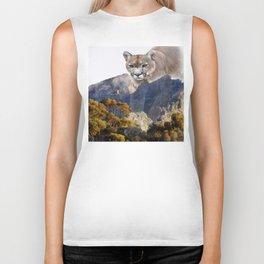 Mountain lion and mountains Biker Tank