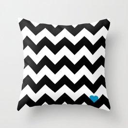 Heart & Chevron - Black/Blue Throw Pillow