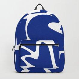 Blue shapes on white background Backpack