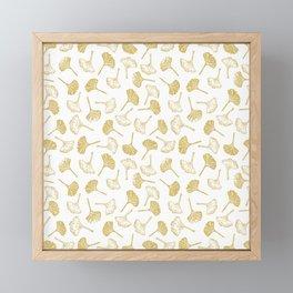 Ginkgo Biloba linocut pattern GLITTER GOLD Framed Mini Art Print