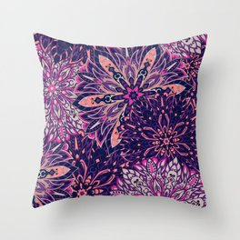 Purple Tribal Mandala Abstract pattern Throw Pillow