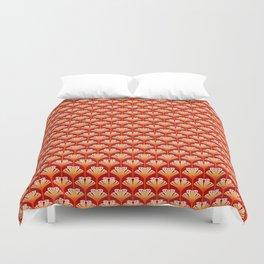 Art Deco Lily, Mandarin Orange and Gold Duvet Cover