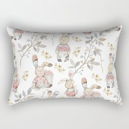 Cute Easter Bunnies with Watercolor Flowers,Sprigs and Leaves Rectangular Pillow