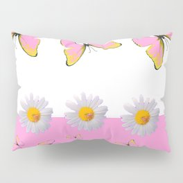 MODERN ART PINK BUTTERFLIES & WHITE DAISIES Pillow Sham