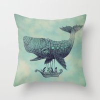 man Throw Pillows featuring Tea at 2,000 Feet by Eric Fan