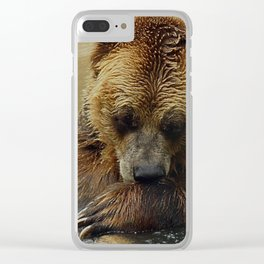 In Deep Thought   - Grizzly Bear Clear iPhone Case