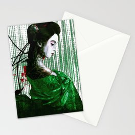 Cyberpunk Geisha Cyborg Matrix Binary Code  Stationery Cards