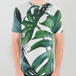 Tropical Palm Leaves Classic All Over Graphic Tee