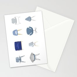 Set of Blue Midcentury Chairs Stationery Cards