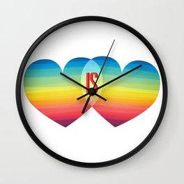 Love Rainbow Pride Equality Is Hearts LGBT Wall Clock