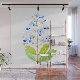 blue butterfly flowers watercolor Wall Mural