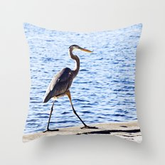 Blue Heron Strut Throw Pillow