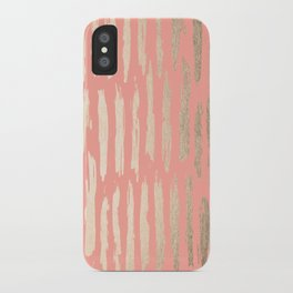 Vertical Dash Tahitian Gold on Coral Pink Stripes iPhone Case