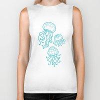 jellyfish Biker Tanks featuring Jellyfish by Liz Urso