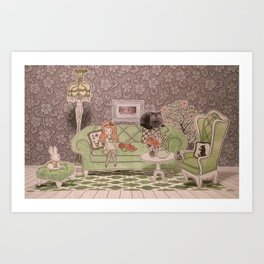 Alice& Dinah Art Print