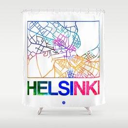 Helsinki Watercolor Street Map Shower Curtain