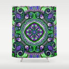 Boho Kaleidoscope Floral Pattern Var. 4 Shower Curtain
