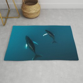 Mother and Child – Humpback Whales in the Ocean – Minimalist Wildlife Photography Rug