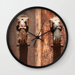 Antique wooden door with hand knockers Wall Clock
