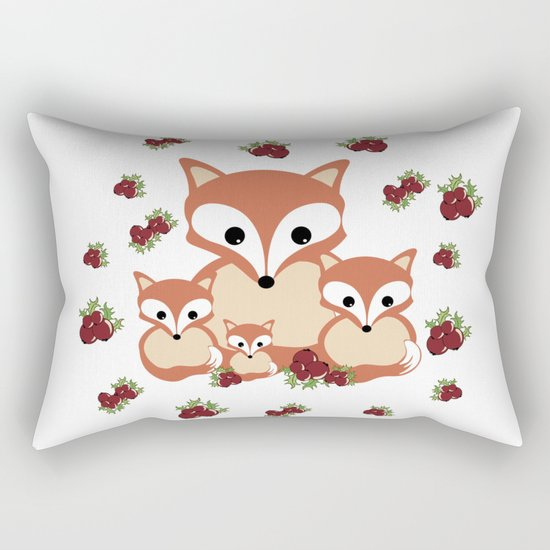 Family of foxes in winter Rectangular Pillow