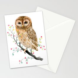 Watercolor Little Owl Portrait Stationery Cards