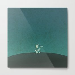 Small winged polka-dotted blue cat Metal Print