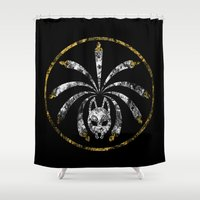 kitsune Shower Curtains featuring Kitsune Seal by Verreaux