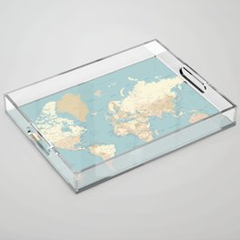 """Cream, brown and muted teal world map, """"Jett"""" Acrylic Tray"""