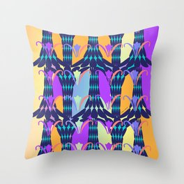 ABSTRACT COLORED FLORALS Throw Pillow