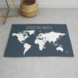 Adventure Awaits World Map in Navy Blue Rug