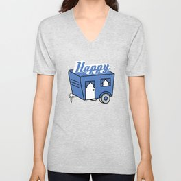 """""""Happy camper"""" tee design for all the campers and mountaineers all around the world! Stay active! Unisex V-Neck"""