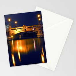 Nocturnal Lights on the river Spree in Berlin Stationery Cards
