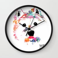 westie Wall Clocks featuring Max the Westie by free in the lines