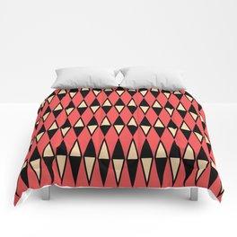 Mid Century Modern Diamond Pattern Red Black cream 231 Comforters