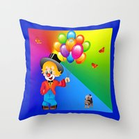 clown Throw Pillows featuring Clown by Art-Motiva