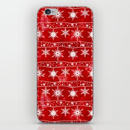 Openwork white snowflakes on red iPhone Skin