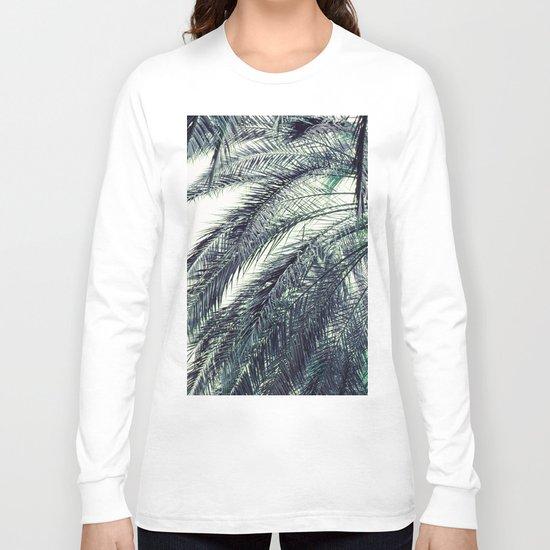 Teal Palm Tree Long Sleeve T-shirt