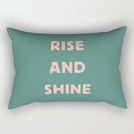 Rise and Shine motivational slogan in pink and green vintage letterpress Rectangular Pillow