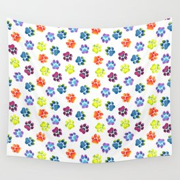 Rainbow Paw Print Pattern Wall Tapestry
