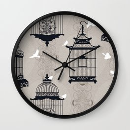 Mascara Empty Brid Cages Wall Clock