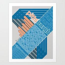 Pittsburgh Neighborhoods, rev. 2 blue/gray/coral Art Print