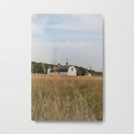 White Barn and Blue Sky Metal Print