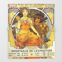 Alphonse Mucha World's Fair St Louis Missouri 1904 Throw Blanket
