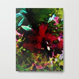 Red Flower with Aqua, Green and Pink Leaves Metal Print