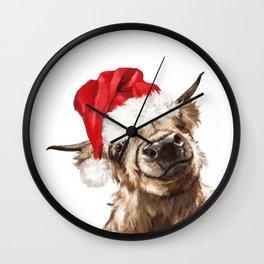 Christmas Highland Cow Wall Clock